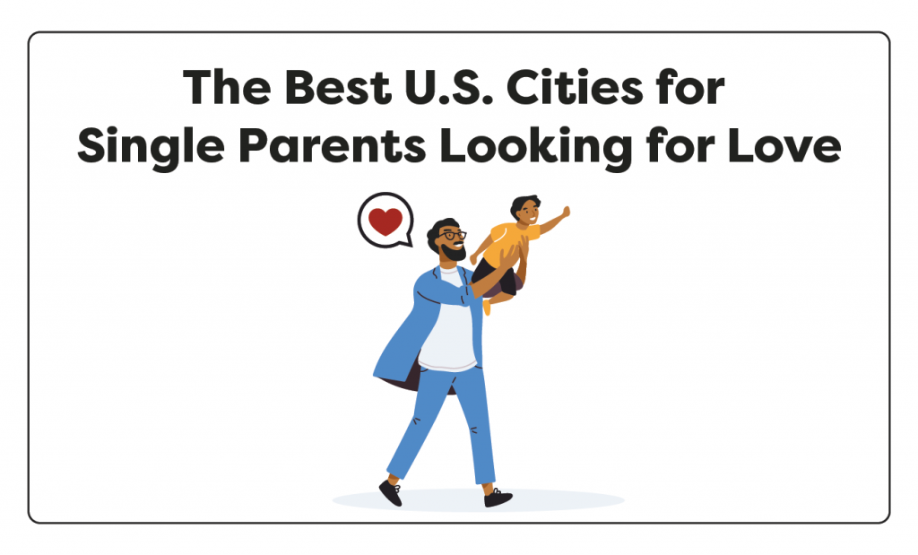 "Image showing man with his child with words read ""The Best US Cities for Single Parents Looking for Love"""